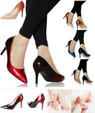 Mujer Party Noche Dos Tonos Charol Bajo Zapatos de Salón Tacón Medio Talla -