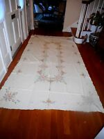 VINTAGE MADEIRA HAND EMBROIDERY BANQUET TABLECLOTH COLORS EMBROIDERD 12 NAPKINS