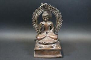 Meditierender Buddha auf Thron Bronze Figur Südostasien  (DJ164)