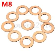 10pc M8 8mm Copper Crush Washers Flat Ring Clutch Oil Brake Line Seal Hose Banjo