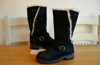 "CAT ""ANNA"" BLACK LEATHER/FAUX FUR LINED CALF LENGTH BOOTS UK 3 EU36 RRP £130.00"