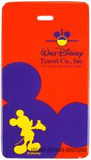RARE VINTAGE WALT DISNEY LUGGAGE TAG TRAVEL CO.,INC MICKEY MOUSE TAG RED PURPLE