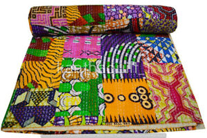 Indien Embroidery Kantha Quilt Bedspread Patchwork Throw Cotton Green