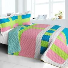 3 Pc Lollipops A Vermicelli Queen Quilt Shams geometric blue pink