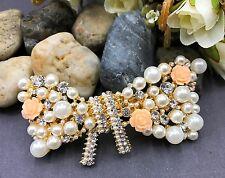 Sparkling Gold Tone Flower Rhinestone bowtie Hair Clip Barrette ha391 9/19