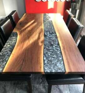 Gray Resin River Dining table, Natural Epoxy Table, Resin Table Wood Working Art