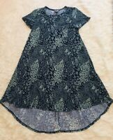 Lula Roe Blue Floral Print Short Sleeve Dress Small