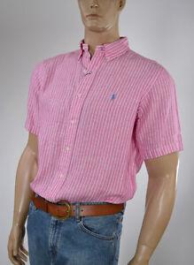 Ralph Lauren Classic Fit Rose Pink Short Sleeve Linen Shirt/Blue Pony-NWT