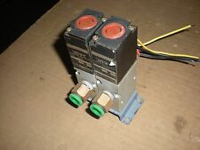 Bank of (2) Koganei Model 200E1 Solenoid Valves - 100Vac Coil - Coils Test Ok 1