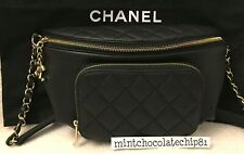 CHANEL BLACK WAIST BAG GOLD HARDWARE FANNY PACK TRAVEL BUM BAG 2019 HTF BNWT