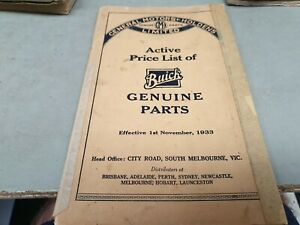 1922 - 1933 BUICK GMH Australia Parts Price List VERY RARE