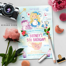 Digital file - Alice in Wonderland Birthday Party Invitation - U PRINT