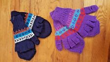 NEW Knit Alpaca Glove / Mitten Glittens Set of 2 Purple Red Navy Blue Tones