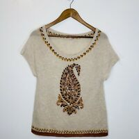 calypso st barth 100% Cashmere Beige Beaded Short Sleeve Sweater S