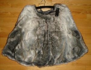 "Tahari Faux Fur Christmas Tree Skirt Gray Brown Mix 52"" Luxurious Soft NWT"