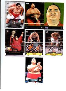 Yokozuna Wrestling Lot of 7 Different Trading Cards 5 Inserts TNA WWE Y-B1