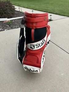 Vintage WILSON STAFF Red White Golf Bag with Cover. Great Shape!