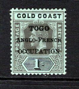 Togo KGV 1916-20  1s On Blue Green (Olive Back) SGH53a M/Mint