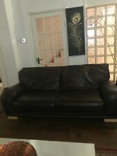 Leather Sofa Set Used DFS Real Leather Dark Brown Good Condition.