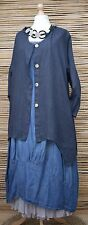 LAGENLOOK LINEN AMAZING BEAUTIFUL 2 POCKETS LONG JACKET***NAVY***BUST UP TO 48""