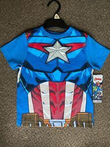 Boys Kids Official Marvel Avengers Captain America Muscle T-Shirt 2-3 Years 98cm