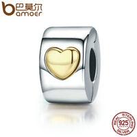 Bamoer European Classic .925 Silver Clip Heart Charm Fit Bracelets Chain Jewelry