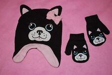 e973424e9e90e9 Toddler Girls Set CUTE PUG DOG Black Pink FLEECE WINTER HAT Stretch Mittens
