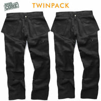 Hard Core TOUGH GRIT Black Work Cargo/Combat Trouser Knee Pad TWIN PACK 30-40""