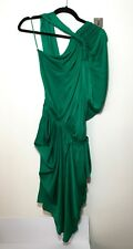 =CHIC= LANVIN Emerald Green Washed Satin Grecian Goddess Drape Party Dress US10