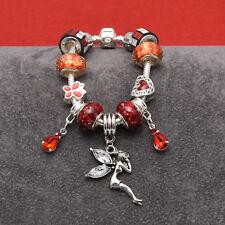 Red Shades Fairy Child Charm Bracelet On Silver Plated Bracelet 15cm