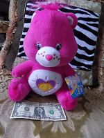 "Care Bears Shine Bright Bear Medium 11"" Plush Stuffed Hot Pink  NWT condition"
