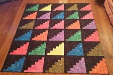 Rainbow Colorful Log Cabin Patchwork 67x80 Patchwork Twin quilt*Brite Multicolor