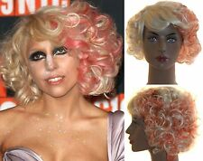 DELUXE LADY GAGA HALLOWEEN BLONDE RED CURLY ZOMBIE SHORT BOB COSTUME WIG
