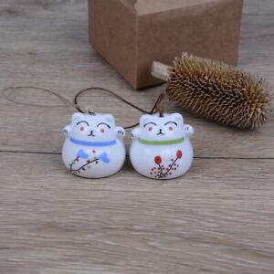 Ceramic Windchimes Lucky Cat Pendant Wind Chimes Car Ornament Home De.ZY