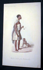 1855 ORIGINAL HAND COLORED BUSHMAN WOMAN & CHILD LITHOGRAPH SOUTH AFRICA