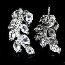 Sterling Silver 925 Genuine Natural Sky Blue Topaz Leaf Design Earrings