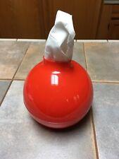 Contemporary Modern Round Paper Pot Boutique Tissue Box Holder Red
