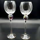 2 Signed Brioni Hand Blown Art Glass Wine Goblets Clear Iridescent Purple Gold