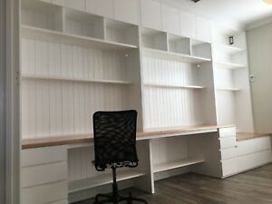 """Sunrise 2.0"" Integrated Study Room Wall Unit Bookshelf Computer Desk Storage"