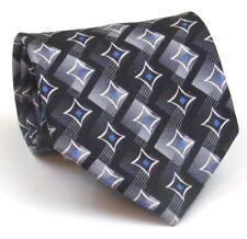 """Jos. A. Bank Tie Mens Silk Tie Black Geometric Pattern 58"""" Long 3.75"""" Wide"""