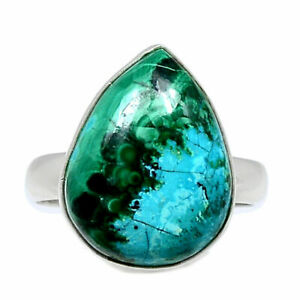 Malachite In Chrysocolla 925 Sterling Silver Ring Jewelry s.7.5 BR91332 XGB