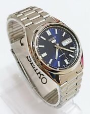 (Gift) + SNXS77K1 SEIKO 5 Stainless Steel Band Automatic Men's Blue Watch New