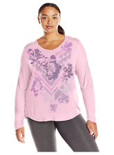 NWT Just My Size 4X  Light Weight L/S V Neck Glitzy Graphic Tee Top Paleo Pink