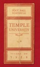 Antique 1928 Temple University Football Pocket Schedule Early 1920s Philadelphia