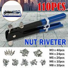 110Pcs Threaded Nut Rivet Gun M3-M8 Insert Tools Riveter Rivnut Nutsert Riveting