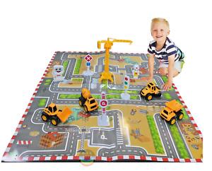 11Pcs/Set Mini Diecast Construction Truck Model Vehicle Toy Digger Kids With Mat