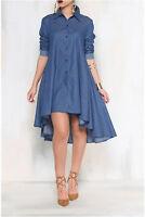 Autumn Woman's Casual Asymmetrical Hem Long Sleeve Shirt style Denim Dress