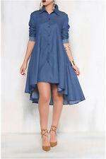 Women Lady Fashion Blue Denim Collared Shirt High Low Hem Long Sleeve Dress