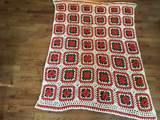 "Vintage Ivory Orange Green Square Floral Crotcheted Afghan Throw Blanket 56""x46"""