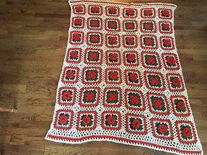 "Vintage Ivory Orange Green Square Floral Crotcheted Afghan Throw Blanket 56""x46"""